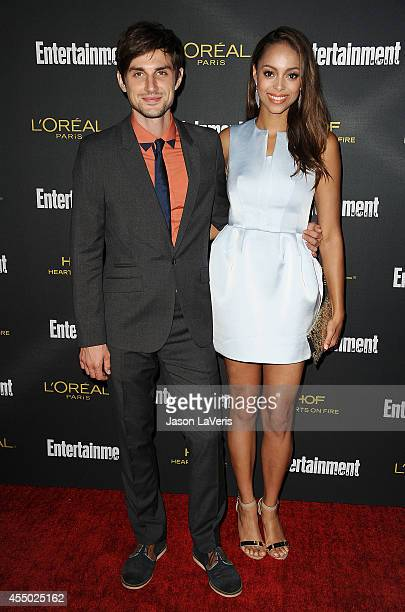 Actor Andrew J West and actress Amber Stevens attend the 2014 Entertainment Weekly preEmmy party at Fig Olive Melrose Place on August 23 2014 in West...