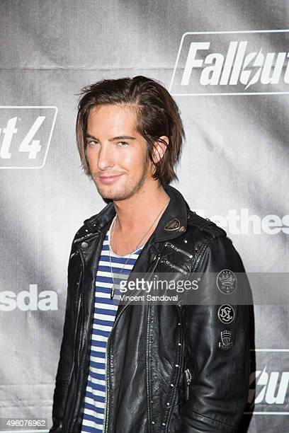 Actor Andrew James Allen attends the Fallout 4 video game launch event in downtown Los Angeles on November 5 2015 in Los Angeles California