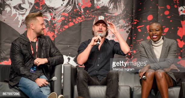 Actor Andrew Lincoln and actress Danai Gurira onstage during the 2017 Walker Stalker Con Atlanta at Georgia World Congress Center on October 29 2017...