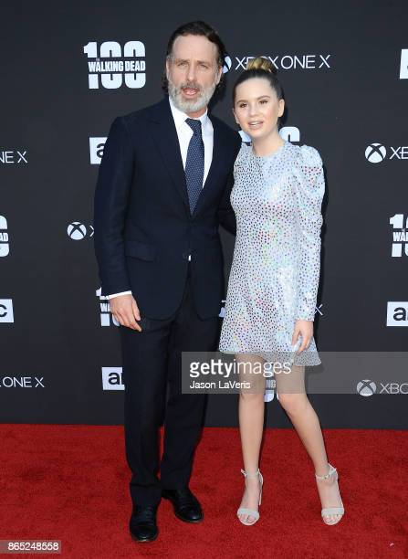 Actor Andrew Lincoln and actress Kyla Kenedy attend the 100th episode celebration off 'The Walking Dead' at The Greek Theatre on October 22 2017 in...