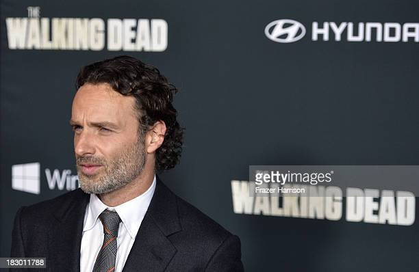 "Actor Andrew Lincoln arrives at the premiere of AMC's ""The Walking Dead"" 4th season at Universal CityWalk on October 3, 2013 in Universal City,..."