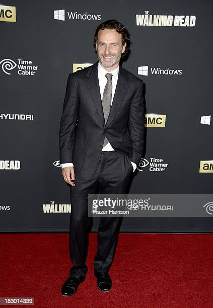 Actor Andrew Lincoln arrives at the premiere of AMC's 'The Walking Dead' 4th season at Universal CityWalk on October 3 2013 in Universal City...