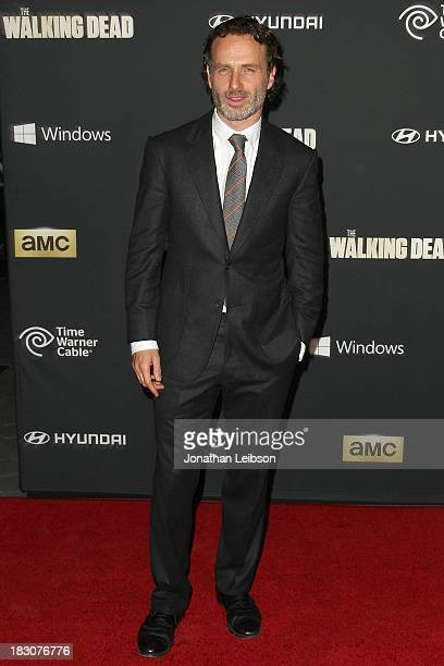 Actor Andrew Lincoln attends the AMC's 'The Walking Dead' Season 4 Premiere Party at AMC Universal City Walk on October 3 2013 in Universal City...