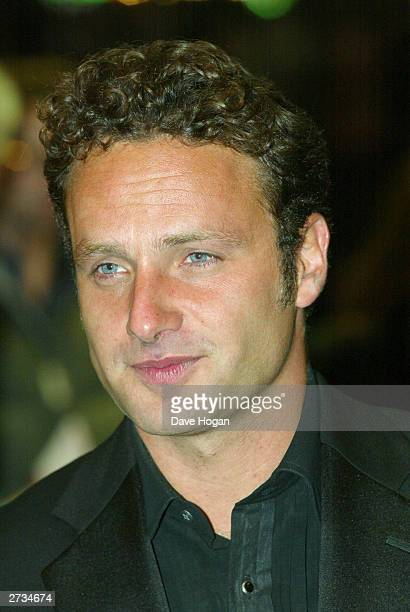 "Actor Andrew Lincoln attends the UK charity film premiere of ""Love Actually"" at The Odeon Leicester Square on November 16, 2003 in London."