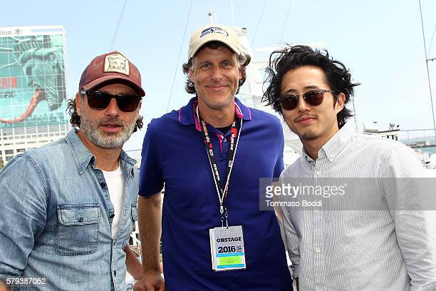 Actor Andrew Lincoln Jeff Blackburn Amazon Senior Vice President and Steven Yeun of the Walking Dead attend the IMDb Yacht at San Diego ComicCon 2016...