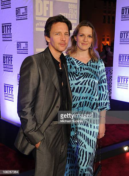 Actor Andrew McCarthy and Dolores Rice arrive at the Miral premiere during the 2010 Doha Tribeca Film Festival held at the Katara Opera House on...