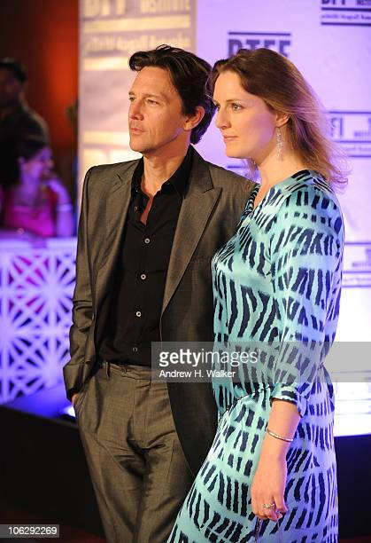 "Actor Andrew McCarthy and Dolores Rice arrive at the ""Miral"" premiere during the 2010 Doha Tribeca Film Festival held at the Katara Opera House on..."