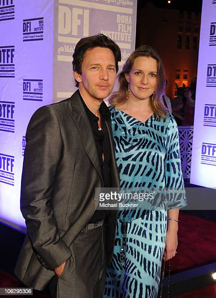 Actor Andrew McCarthy and Dolores Rice arrive at the 'Miral' premiere during the 2010 Doha Tribeca Film Festival held at the Katara Opera House on...