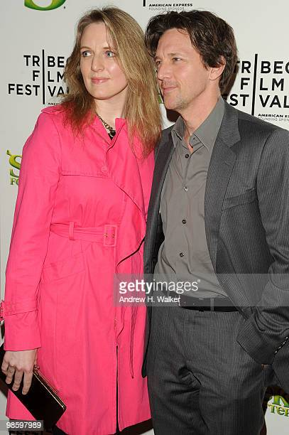 Actor Andrew McCarthy and Dolores Rice attend the 2010 Tribeca Film Festival opening night premiere of Shrek Forever After at the Ziegfeld Theatre on...