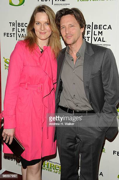 Actor Andrew McCarthy and Dolores Rice attend the 2010 Tribeca Film Festival opening night premiere of 'Shrek Forever After' at the Ziegfeld Theatre...