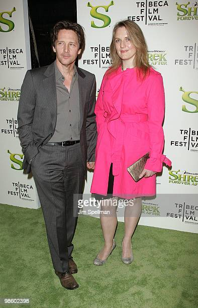 "Actor Andrew McCarthy and Dolores Rice attend the ""Shrek Forever After"" premiere during the 9th Annual Tribeca Film Festival at the Ziegfeld Theatre..."