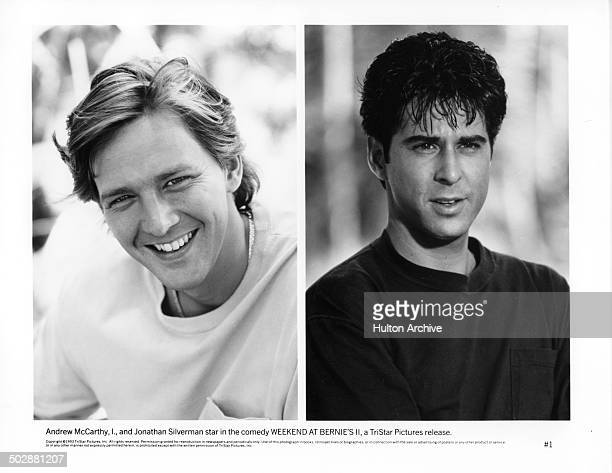 Actor Andrew McCarthy pose for the movie actor Jonathan Silverman looks on in a scene from the TriStar Pictures movie Weekend at Bernie's II circa...