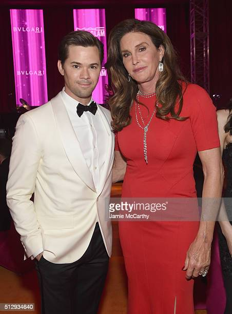 Actor Andrew Rannells and tv personality Caitlyn Jenner attend the 24th Annual Elton John AIDS Foundation's Oscar Viewing Party at The City of West...