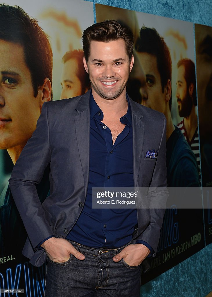 Actor Andrew Rannells arrives to the premiere of HBO's 'Looking' at Paramount Theater on the Paramount Studios lot on January 15, 2014 in Hollywood, California.