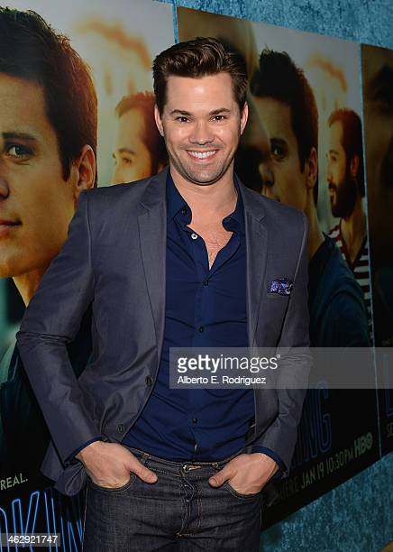 Actor Andrew Rannells arrives to the premiere of HBO's 'Looking' at Paramount Theater on the Paramount Studios lot on January 15 2014 in Hollywood...