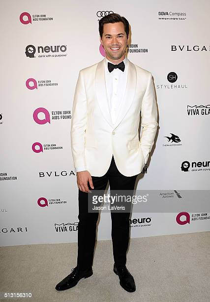 Actor Andrew Rannells attends the 24th annual Elton John AIDS Foundation's Oscar viewing party on February 28 2016 in West Hollywood California