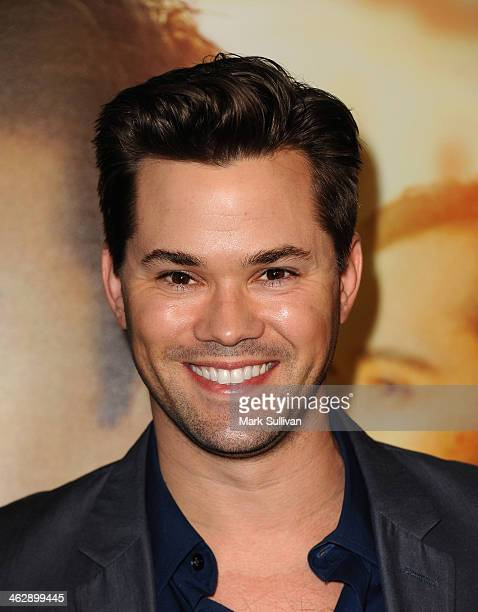 Actor Andrew Rannells attends the Los Angeles Premiere of HBO's new series 'Looking' at Paramount Theater on the Paramount Studios lot on January 15...