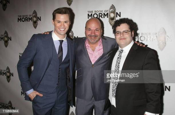 Actor Andrew Rannells Casey Nicholaw and actor Josh Gad attend the after party for the opening night of the Book of Mormon on Broadway on March 24...