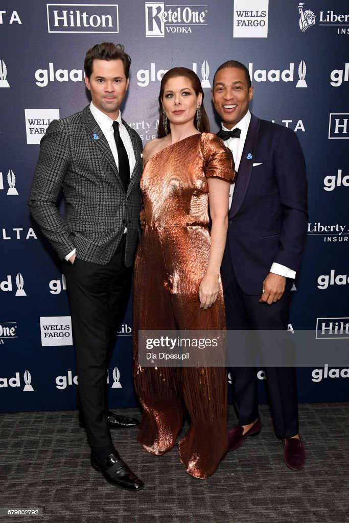 Actor Andrew Rannells, honoree Debra Messing and CNN anchor Don Lemon pose backstage at the 28th Annual GLAAD Media Awards at The Hilton Midtown on May 6, 2017 in New York City.