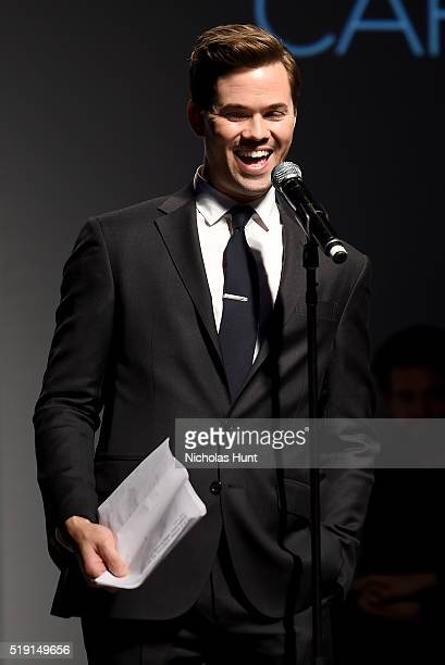 Actor Andrew Rannells hosts the Jeffrey Fashion Cares 13th Annual Fashion Fundraiser at the Intrepid SeaAirSpace Museum on April 4 2016 in New York...