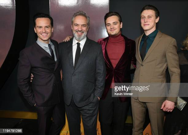 Actor Andrew Scott director/producer/writer Sam Mendes and actors DeanCharles Chapman and George MacKay attend the premiere of Universal Pictures'...