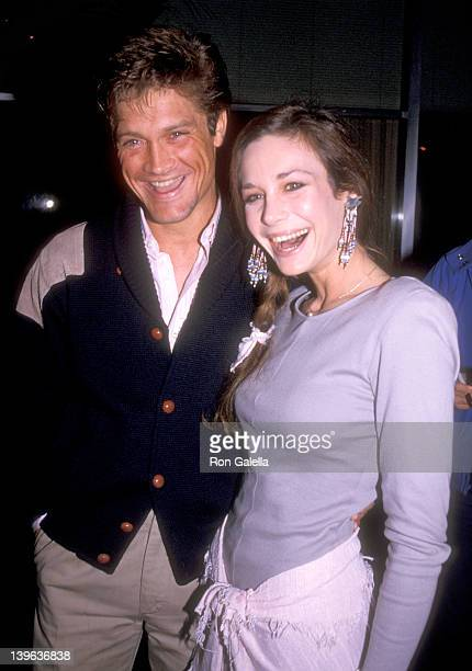 Actor Andrew Stevens and actress Mary Crosby attend the 42nd Annual Golden Globe Awards Rehearsals on January 26 1985 at Beverly Hilton Hotel in...
