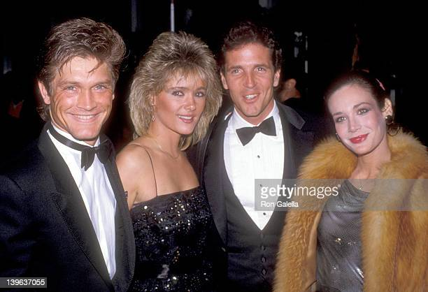 Actor Andrew Stevens and date and actor Eb Lottimer and actress Mary Crosby attend the 42nd Annual Golden Globe Awards on January 27 1985 at Beverly...