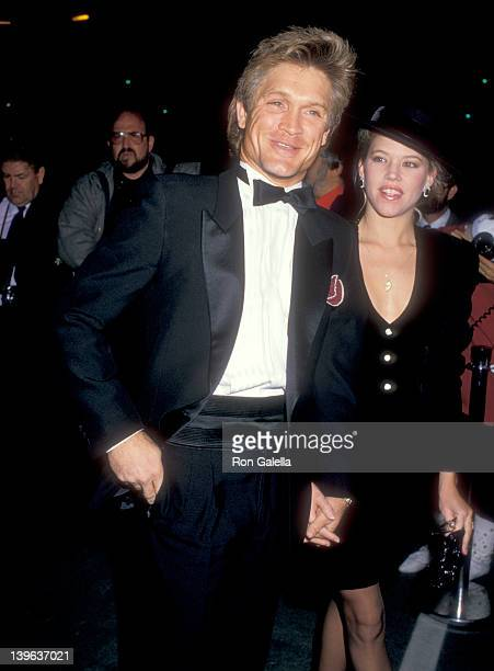 Actor Andrew Stevens and date attend Variety Clubs International's 'AllStar Party for Joan Collins' Television Special on November 22 1987 at Warner...