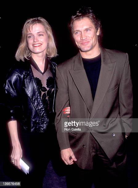 Actor Andrew Stevens and date Dagny Hultgreen attend The Player West Hollywood Premiere on April 3 1992 at DGA Theatre in West Hollywood California