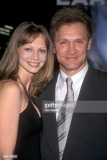 Actor Andrew Stevens and wife Robyn Stevens attend the 'Battlefield Earth' Hollywood Premiere on May 10 2000 at Mann's Chinese Theatre in Hollywood...