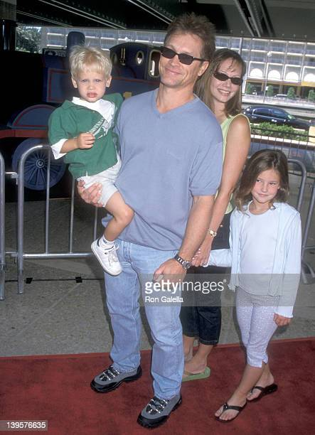 Actor Andrew Stevens wife Robyn Stevens and kids attend the 'Thomas and the Magic Railroad' Century City Premiere on July 22 2000 at Loews Cineplex...
