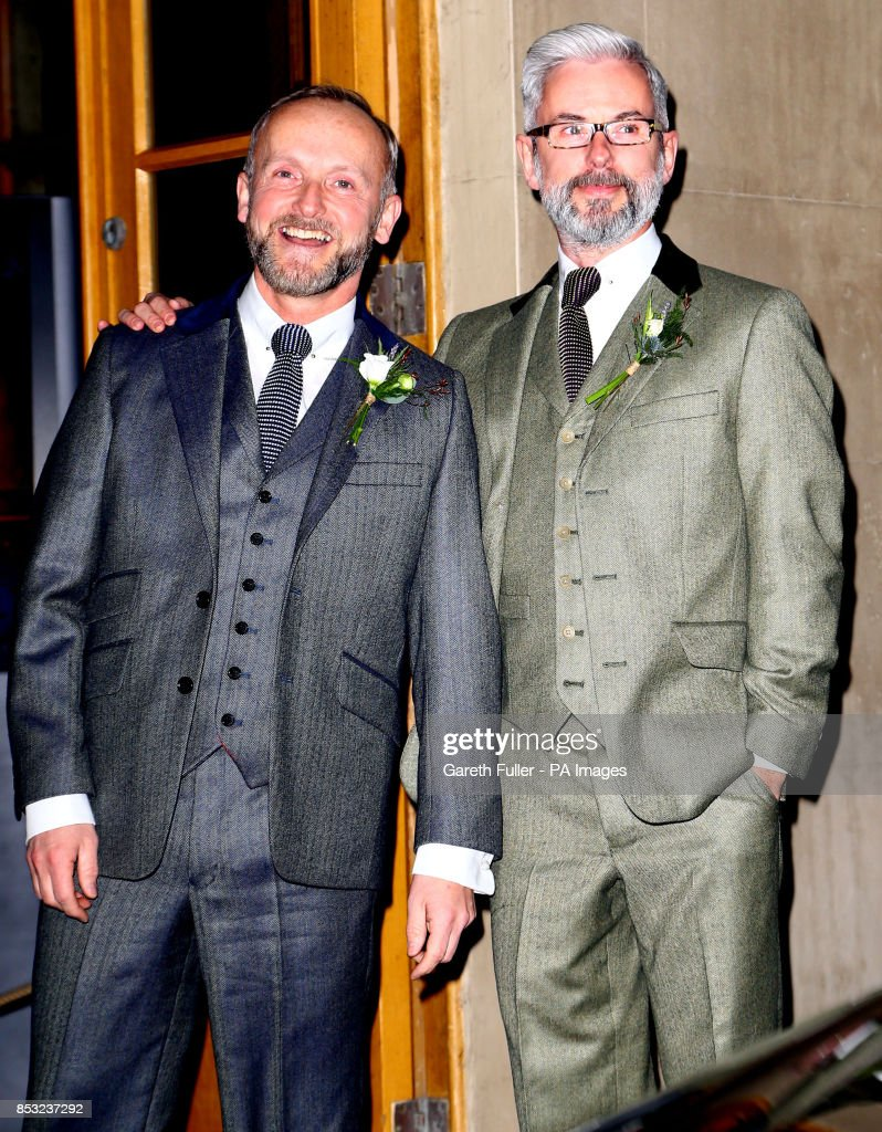 Actor Andrew Wale And Guesthouse Owner Neil Allard Left Arrive For Their Wedding Service