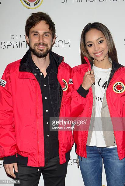Actor Andrew West and actress Amber Stevens attends City Year Los Angeles Spring Break at Sony Studios on April 25 2015 in Los Angeles California