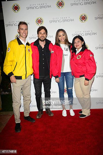 Actor Andrew West and actress Amber Stevens pose with City Year AmeriCorps members at City Year Los Angeles Spring Break at Sony Studios on April 25...