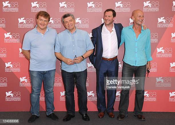 "Actor Andrey Sigle, director Alexander Sokurov, Johannes Zeiler and Anton Adasinskiy attend the ""Faust"" Photocall during the 68th Venice..."