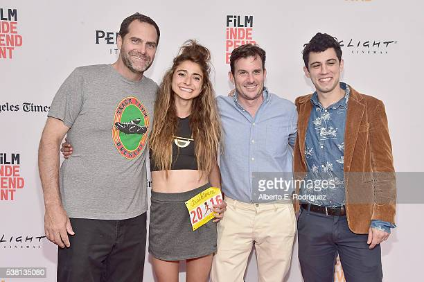 Actor Andy Buckley codirector Alexi Pappas producer Chris Bender and codirector Jeremy Teicher attend the premiere of 'Tracktown' during the 2016 Los...