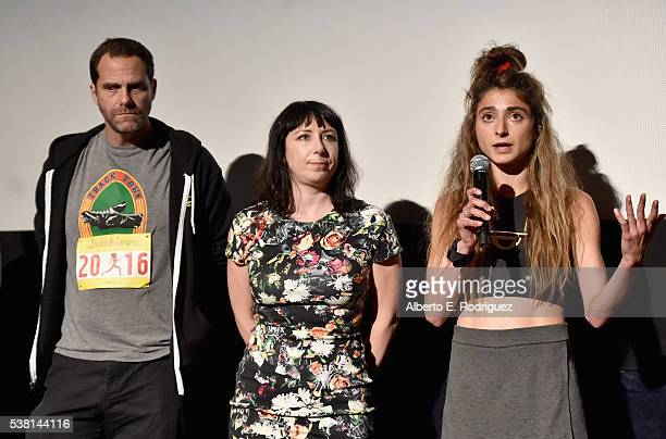 Actor Andy Buckley Laura Wagner and Alexi Pappas speak onstage at the premiere of 'Tracktown' during the 2016 Los Angeles Film Festival at Arclight...