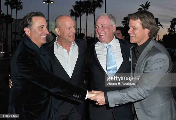 Actor Andy Garcia actor Bruce Willis producer Jerry Weintraub and actor Matt Damon arrive to the premiere of the HBO documentary 'His Way' on March...