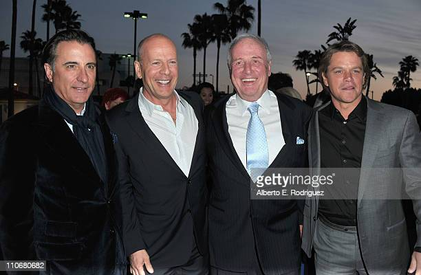 Actor Andy Garcia actor Bruce Willis producer Jerry Weintraub and actor Matt Damon arrive to the premiere of the HBO documentary His Way on March 22...