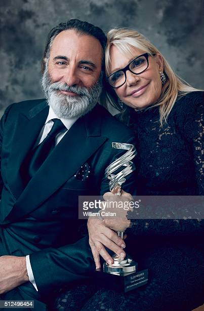 Actor Andy Garcia and costume designer Ellen Mirojnick pose for a portrait at the 18th Costume Designers Guild Awards at The Beverly Hilton Hotel on...