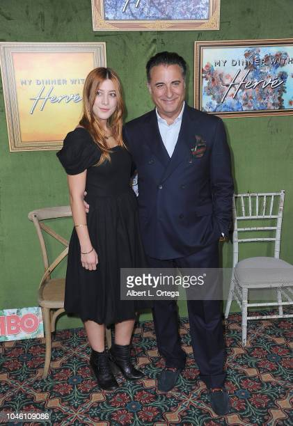 Actor Andy Garcia and Dominik GarciaLorido arrive for the HBO Films' My Dinner With Herve Premiere held at Paramount Studios on October 4 2018 in...