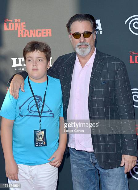 Actor Andy Garcia and son Andres Antonio Garcia arrive at Disney's The Lone Ranger World Premiere at Disney's California Adventure on June 22 2013 in...