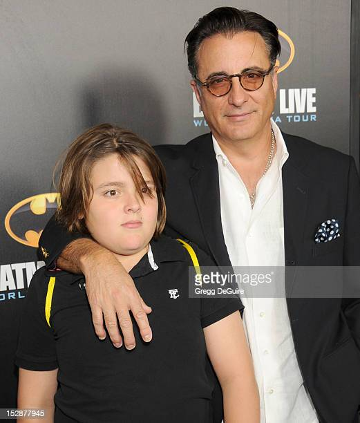 Actor Andy Garcia and son Andres arrive at the opening night performance of Batman Live at Staples Center on September 27 2012 in Los Angeles...