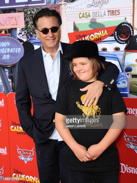 Actor Andy Garcia and son Andres Garcia attend the grand opening Cars Land at Disney's California Adventure on June 13 2012 in Anaheim California