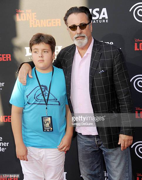 Actor Andy Garcia and son arrive at 'The Lone Ranger' World Premiere at Disney's California Adventure on June 22 2013 in Anaheim California