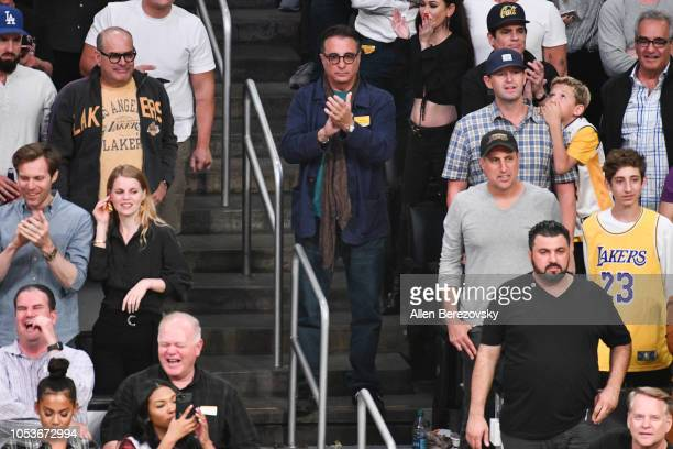 Actor Andy Garcia attends a basketball game between the Los Angeles Lakers and the Denver Nuggets at Staples Center on October 25 2018 in Los Angeles...