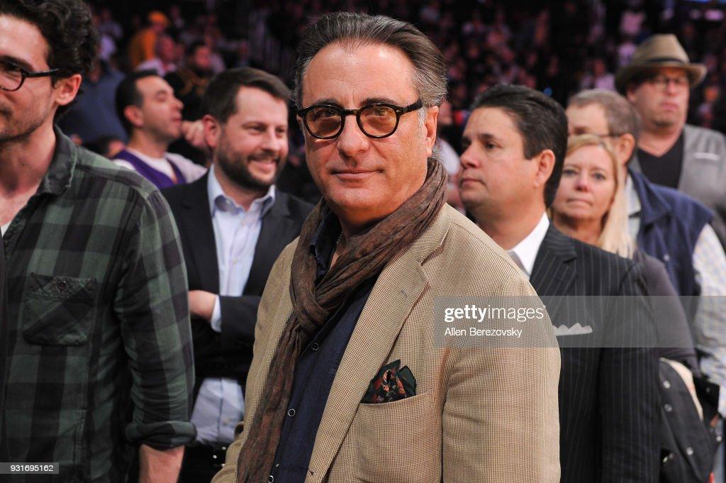 Actor Andy Garcia attends a basketball game between the Los Angeles Lakers and the Denver Nuggets at Staples Center on March 13, 2018 in Los Angeles, California.