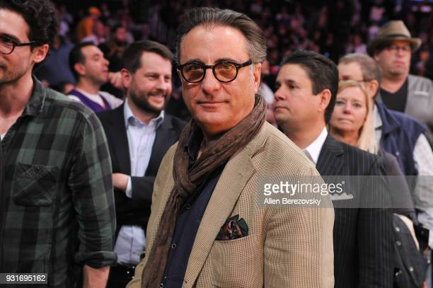 Actor Andy Garcia attends a basketball game between the Los Angeles Lakers and the Denver Nuggets at Staples Center on March 13 2018 in Los Angeles...