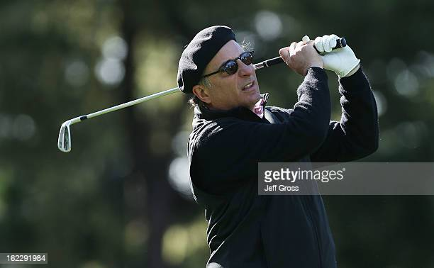Actor Andy Garcia hits a shot during the second round of the ATT Pebble Beach National ProAm at Spyglass Hill on February 8 2013 in Pebble Beach...