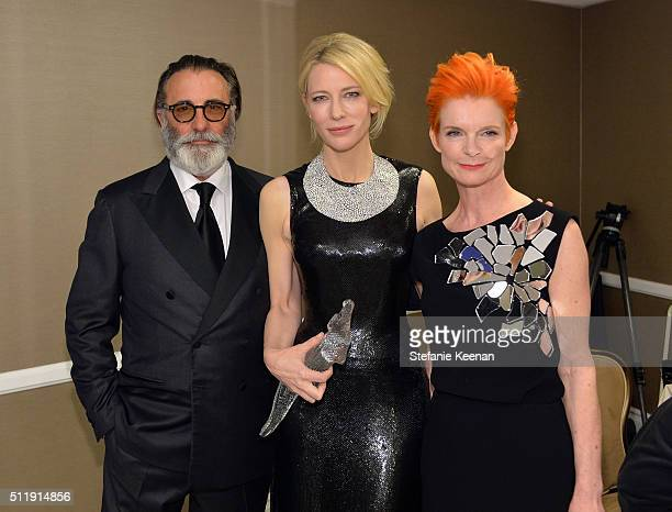 Actor Andy Garcia honoree Cate Blanchett and costume designer Sandy Powell attend the 18th Costume Designers Guild Awards with Presenting Sponsor...